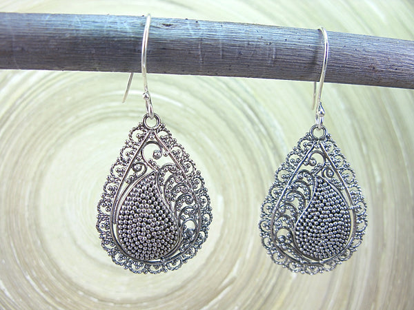 Balinese Bead Filigree Cahew Pear Shaped 925 Sterling Silver Earrings Earrings - Faith Owl