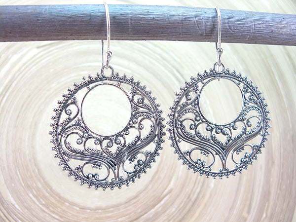 Balinese Bead Filigree Oxidized 925 Sterling Silver Earrings Earrings - Faith Owl