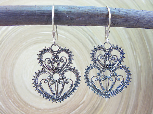 Balinese Bead Filigree Heart Oxidized 925 Sterling Silver Earrings Earrings - Faith Owl