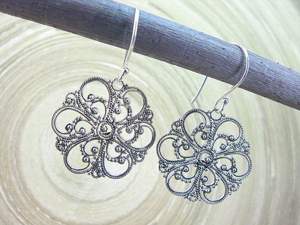 Balinese Bead Filigree Flower Oxidized 925 Sterling Silver Earrings Earrings - Faith Owl
