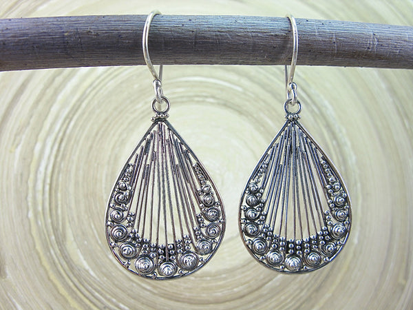 Balinese Bead Filigree Pear Shaped 925 Sterling Silver Earrings Earrings - Faith Owl
