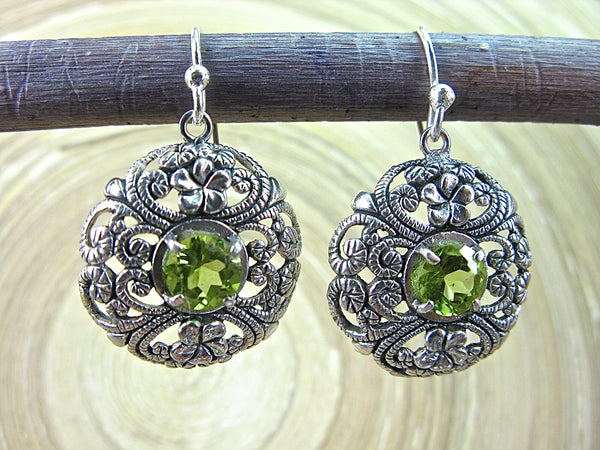 Balinese Filigree Peridot 925 Sterling Silver Earrings Earrings - Faith Owl