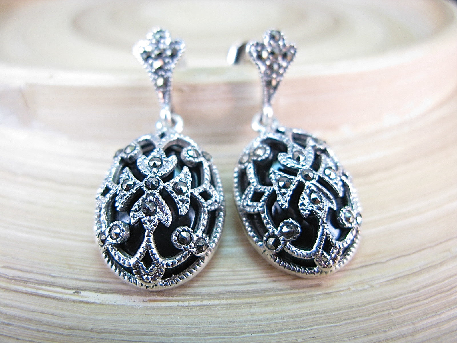 Onyx Marcasite Filigree Vintage Dangle 925 Sterling Silver Earrings Earrings Faith Owl - Faith Owl
