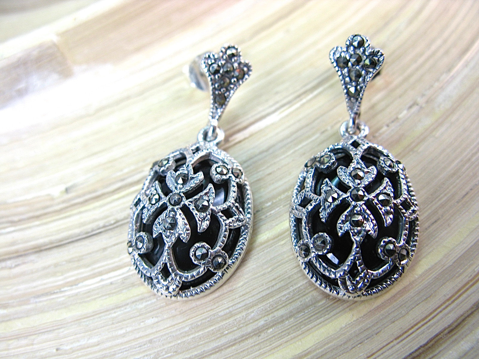 Marcasite Onyx Filigree Dangle 925 Sterling Silver Earrings