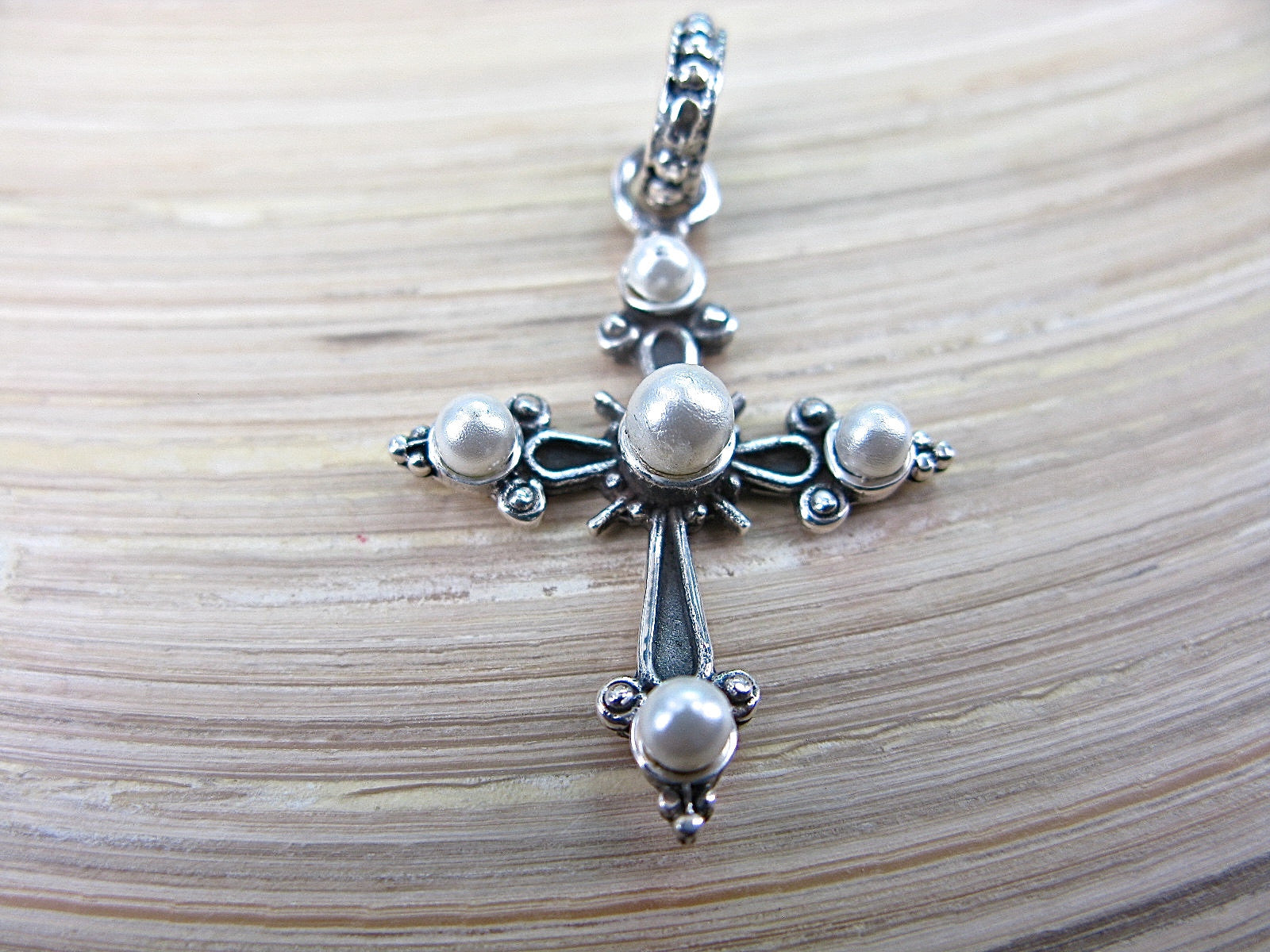 Cross Pearl Oxidized 925 Sterling Silver Pendant Pendant Faith Owl - Faith Owl