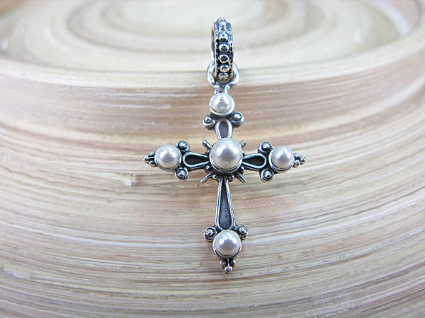 Cross Pearl Oxidized 925 Sterling Silver Pendant Pendant - Faith Owl