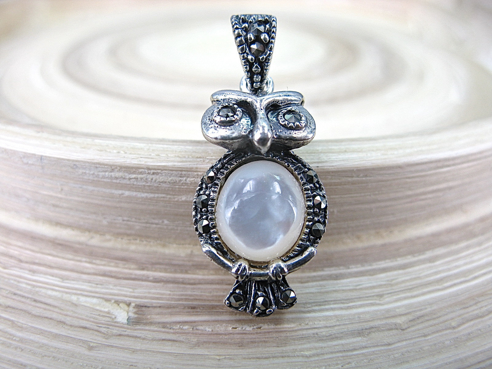 Owl Marcasite Multi Gemstone 925 Sterling Siliver Pendant Pendant Faith Owl - Faith Owl