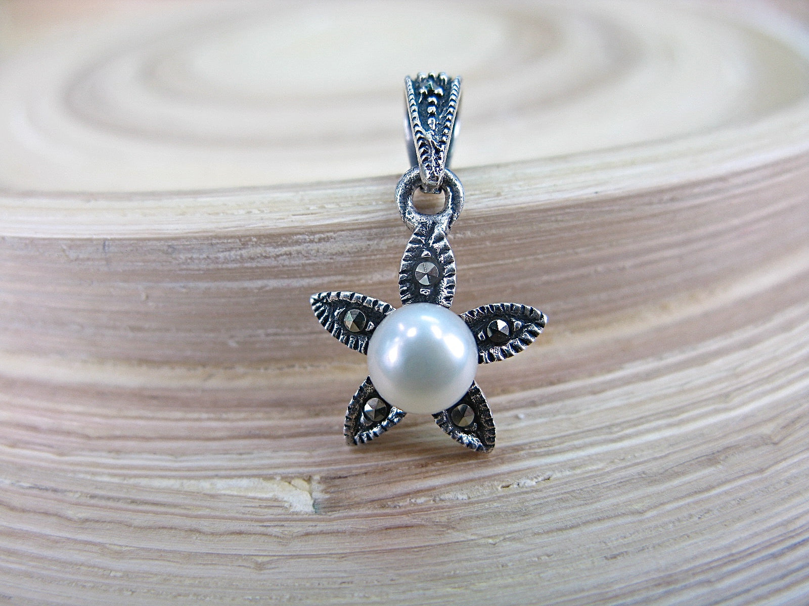 Flower Star Marcasite Pearl 925 Sterling Siliver Pendant Pendant Faith Owl - Faith Owl