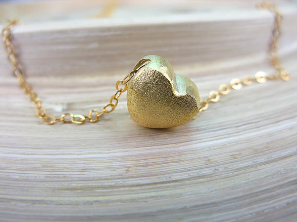3D Gold Plated Silver Heart 925 Sterling Silver Necklace Necklace - Faith Owl