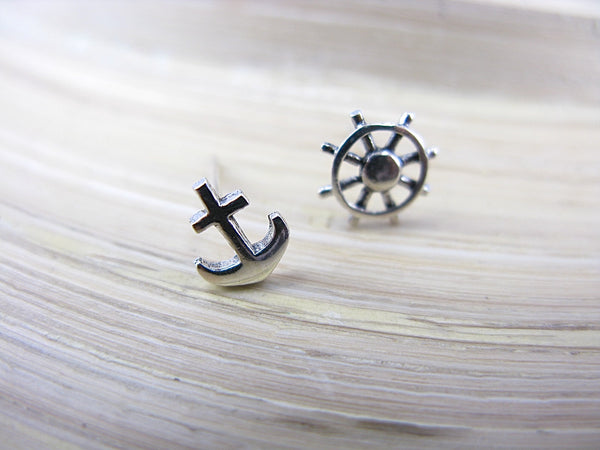 Anchor Ship Wheel 925 Sterling Silver Stud Earrings  - Faith Owl