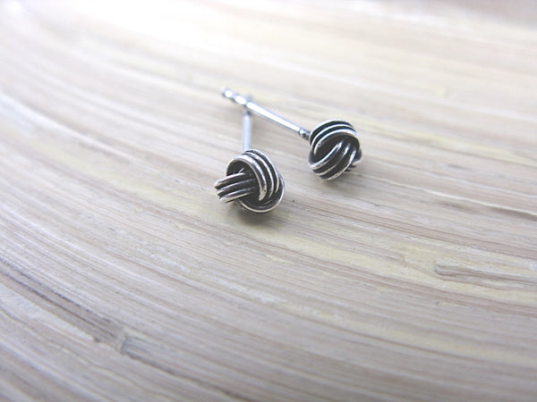 8mm Knot Oxidized 925 Sterling Silver Stud Earrings Stud - Faith Owl