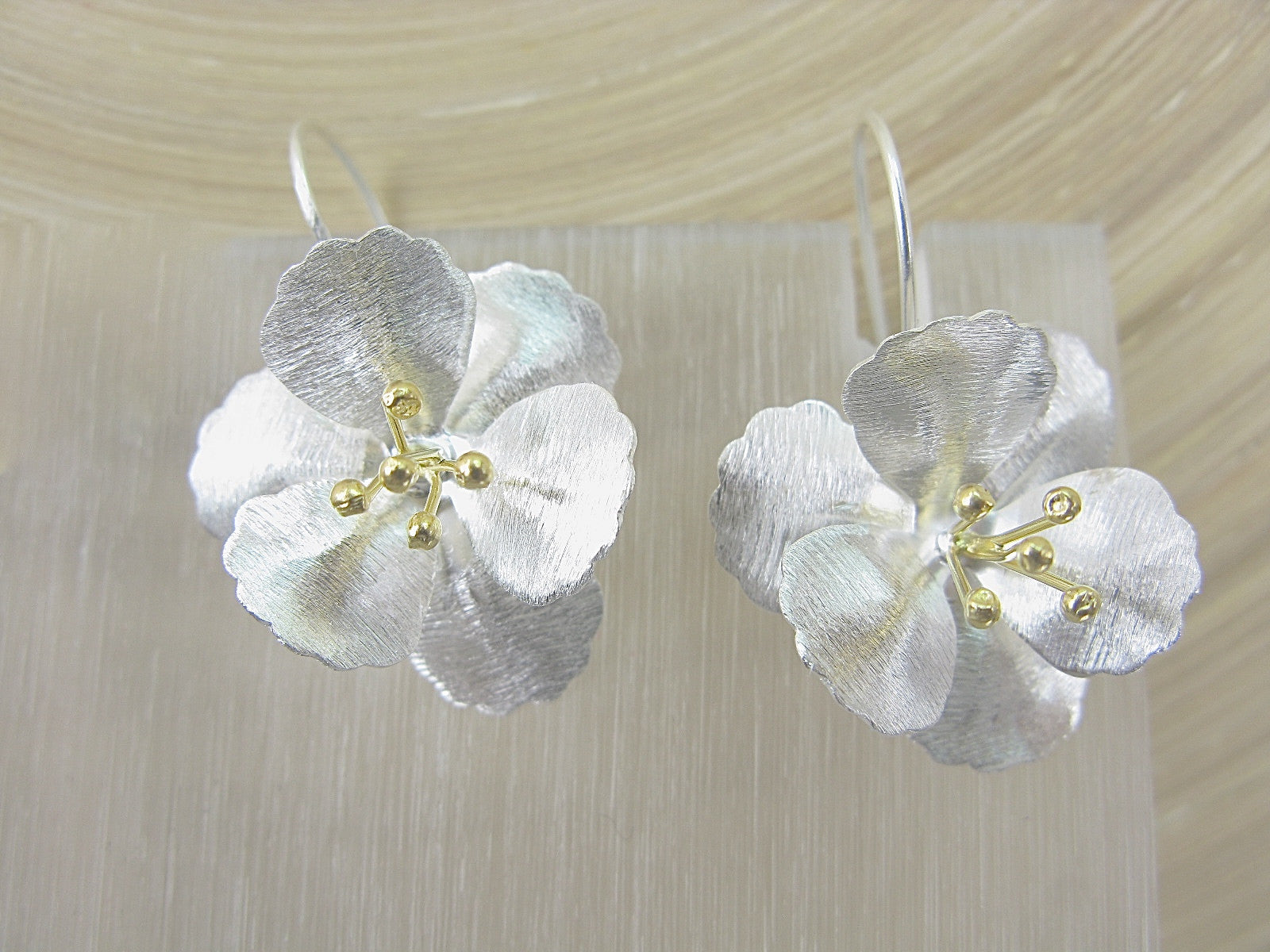 Flower Tribal Matt Look Gold Plated 925 Sterling Silver Earrings Earrings Faith Owl - Faith Owl