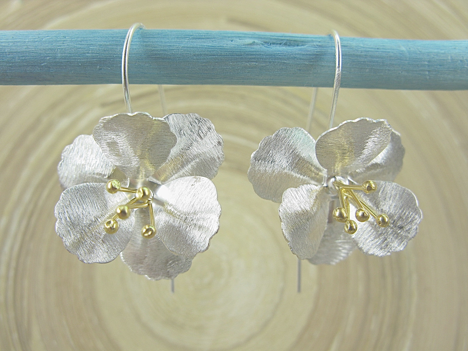Flower Tribal Matt Look Gold Plated 925 Sterling Silver Earrings Earrings - Faith Owl