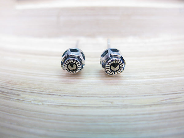 5mm Round Marcasite 925 Sterling Silver Stud Earrings Stud - Faith Owl