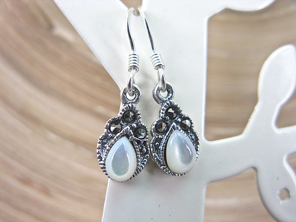 Marcasite Mother of Pearl Drop 925 Sterling Silver Earrings Earrings Faith Owl - Faith Owl