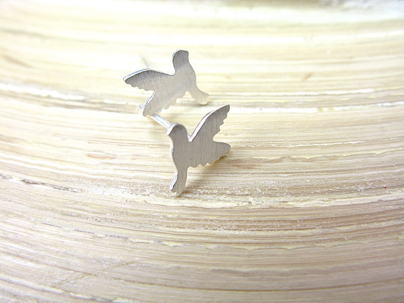 Dove Flying Bird Peace Pigeon 925 Sterling Silver Stud Earrings Stud - Faith Owl