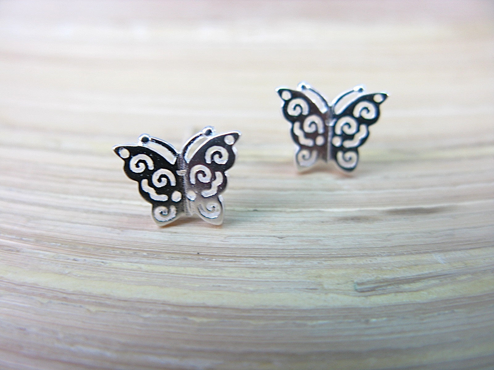 Butterfly Fiiigree Insect 925 Sterling Silver Stud Earrings Stud - Faith Owl