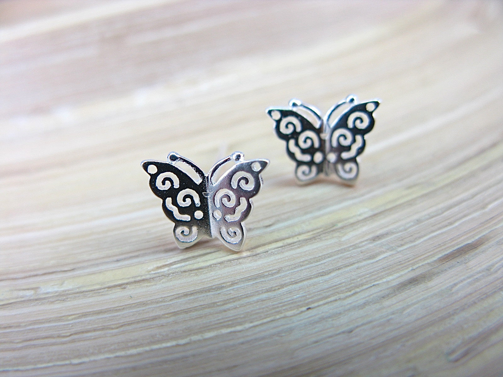 Butterfly Fiiigree Insect 925 Sterling Silver Stud Earrings Stud Faith Owl - Faith Owl