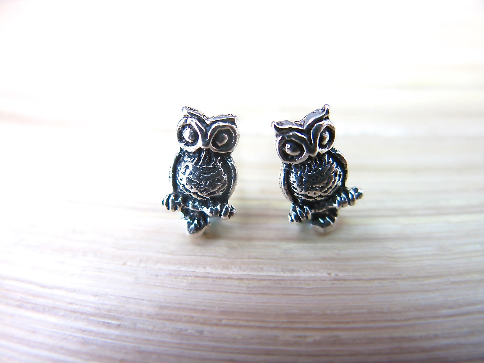 Owl Oxidized 925 Sterling Silver Stud Earrings Stud Faith Owl - Faith Owl