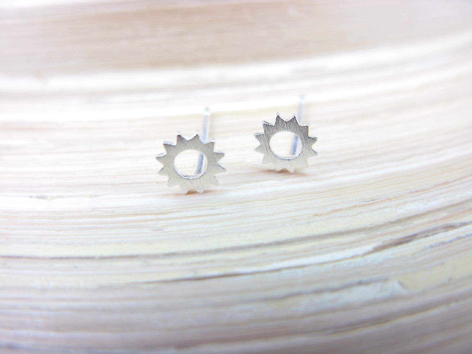 Tiny Sun Minimalist 925 Sterling Silver Stud Earrings