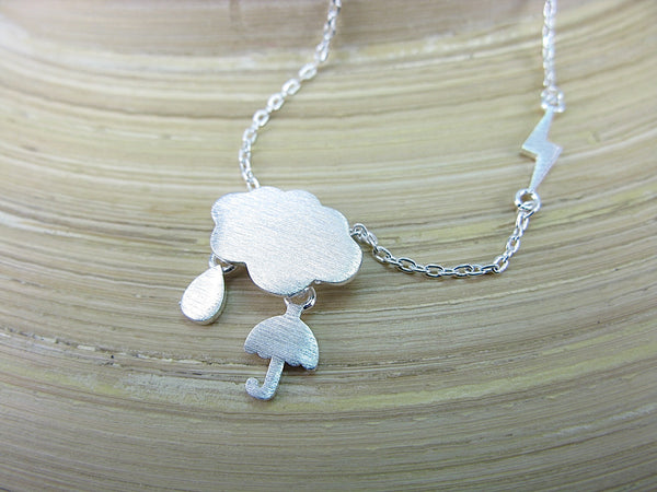 Weather Cloud Lightning Rain Umbrella 925 Sterling Silver Necklace Necklace Faith Owl - Faith Owl