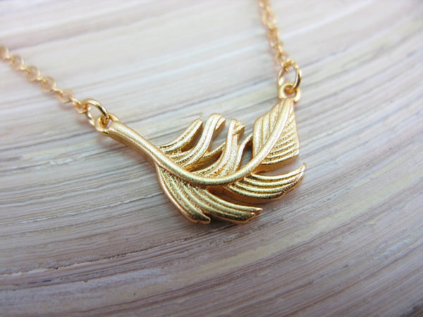 Leaf Gold Plated 925 Sterling Silver Vermeil Chain Necklace Necklace - Faith Owl
