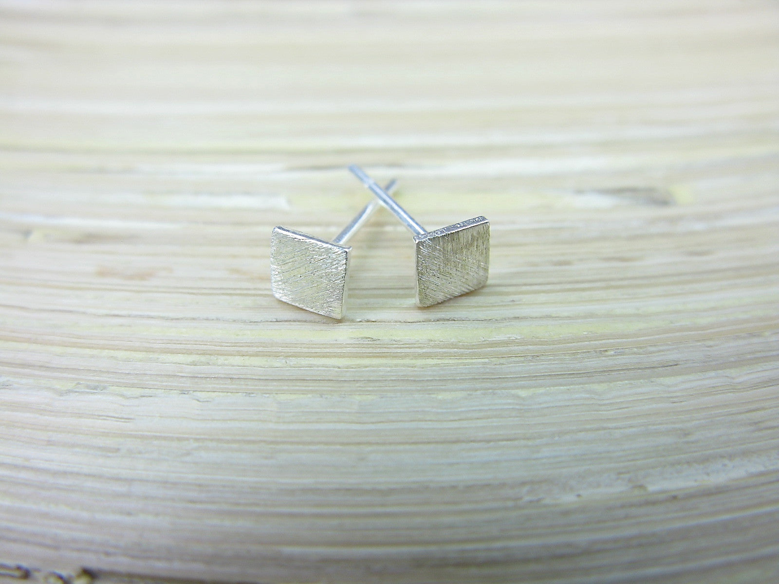 Tiny Square 925 Sterling Silver Minimalist Stud Earrings