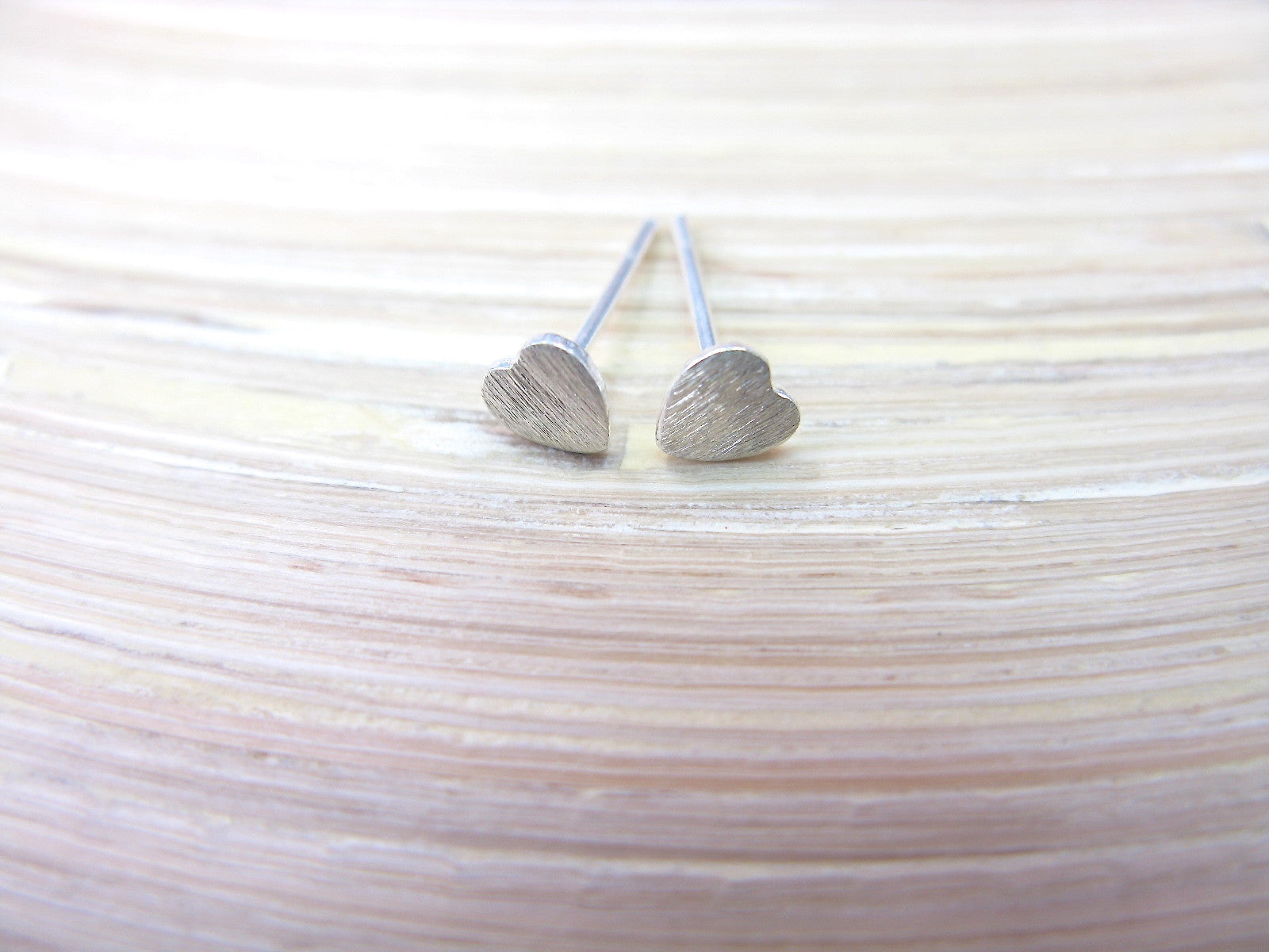 Tiny Heart 925 Sterling Silver Minimalist Stud Earrings