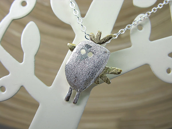 Bird Two Tone Bird Chicken 925 Sterling Silver Chain Necklace Necklace - Faith Owl