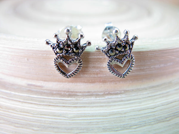 Crown Heart Marcasite Vintage Sterling Silver Stud Earrings Stud - Faith Owl