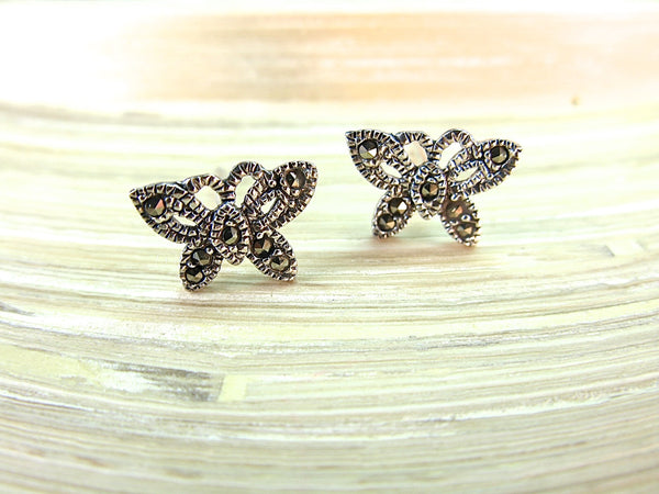 Butterfly Marcasite 925 Sterling Silver Stud Earrings Stud - Faith Owl