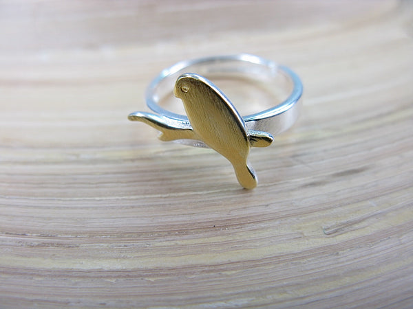 Bird Two Tone Gold Plated 925 Silver Ring Ring - Faith Owl