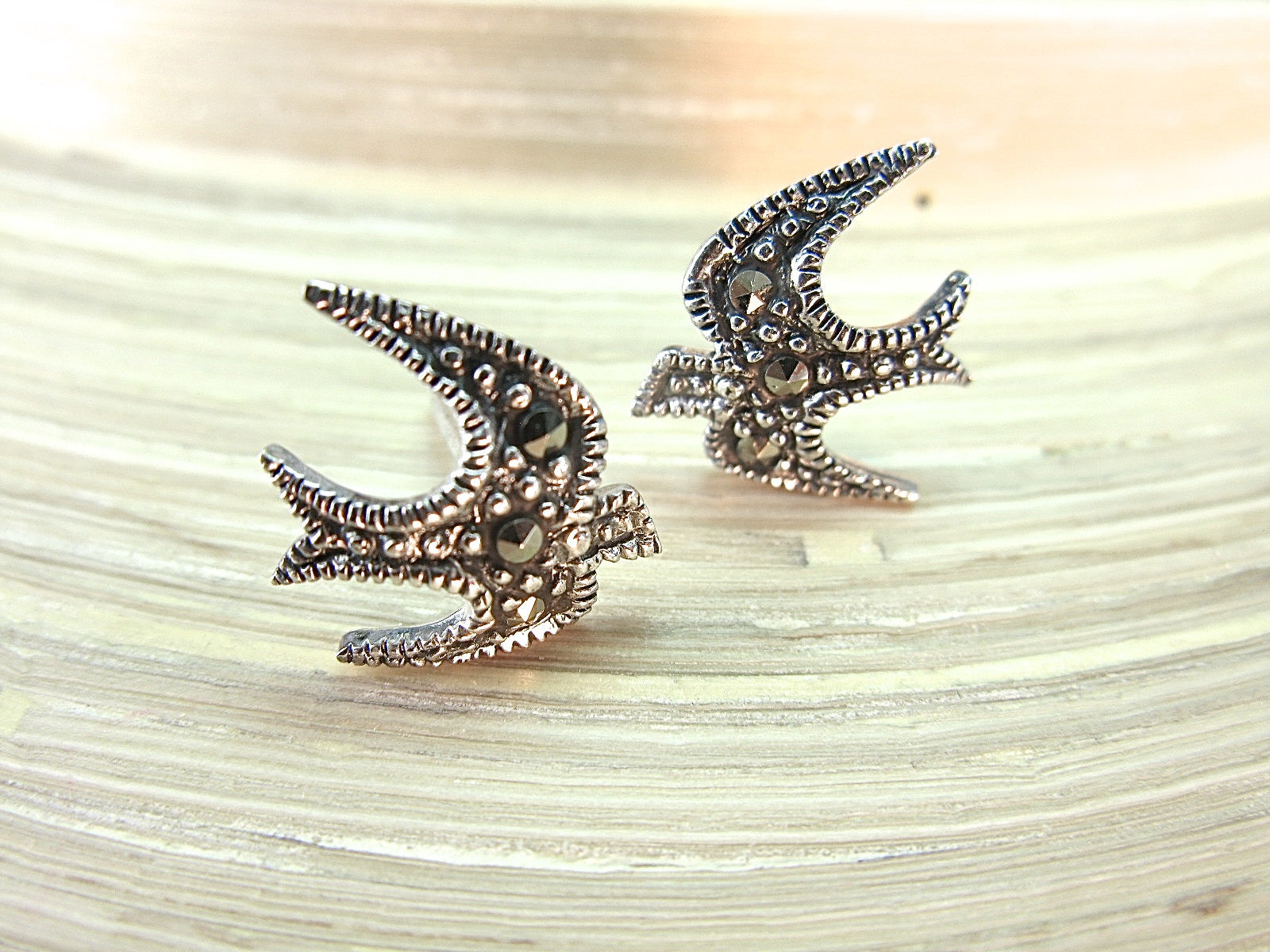 Swallow Bird Marcasite Vintage 925 Sterling Silver Stud Earrings Stud Faith Owl - Faith Owl