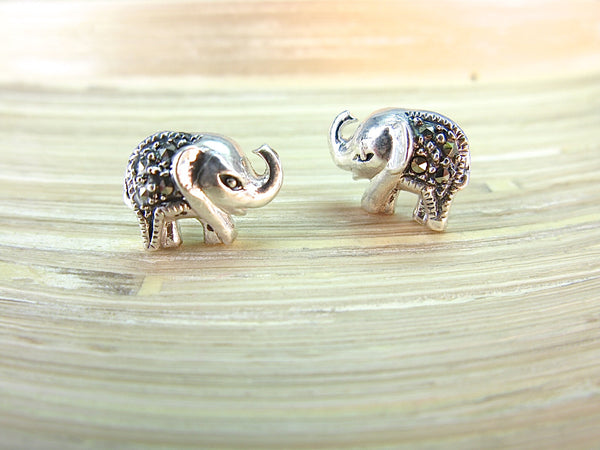 Elephant Marcasite 925 Sterling Silver Stud Earrings Stud - Faith Owl