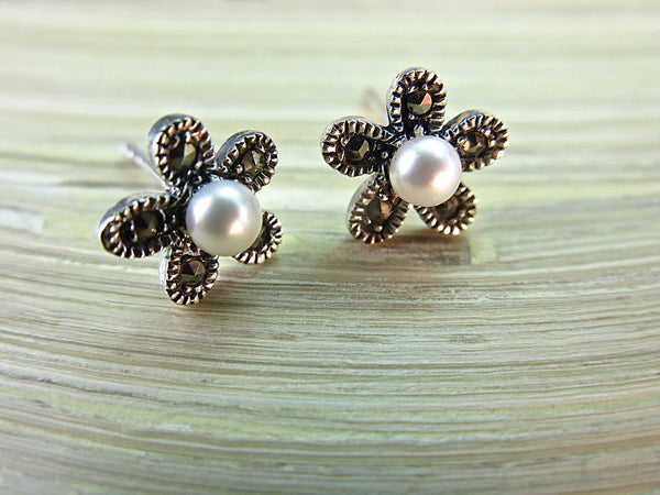 Flower Marcasite Pearl Sterling Silver Stud Earrings Stud - Faith Owl