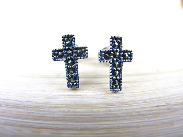 Cross Marcasite Elegant Sterling Silver Stud Earrings Stud - Faith Owl