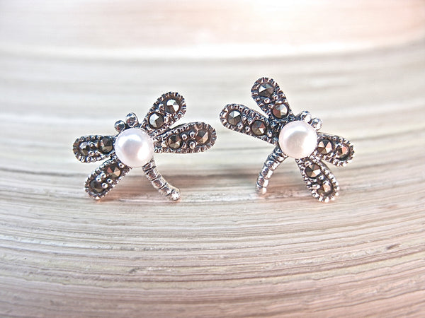 Dragonfly Marcasite Pearl Sterling Silver Stud Earrings Stud - Faith Owl