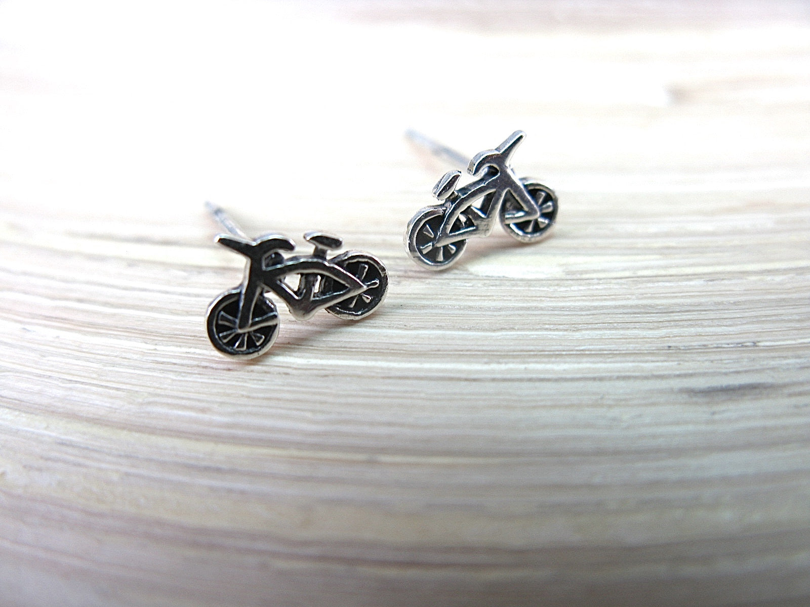 Bike Bicycle Sterling Silver Oxidized Stud Earrings Stud - Faith Owl
