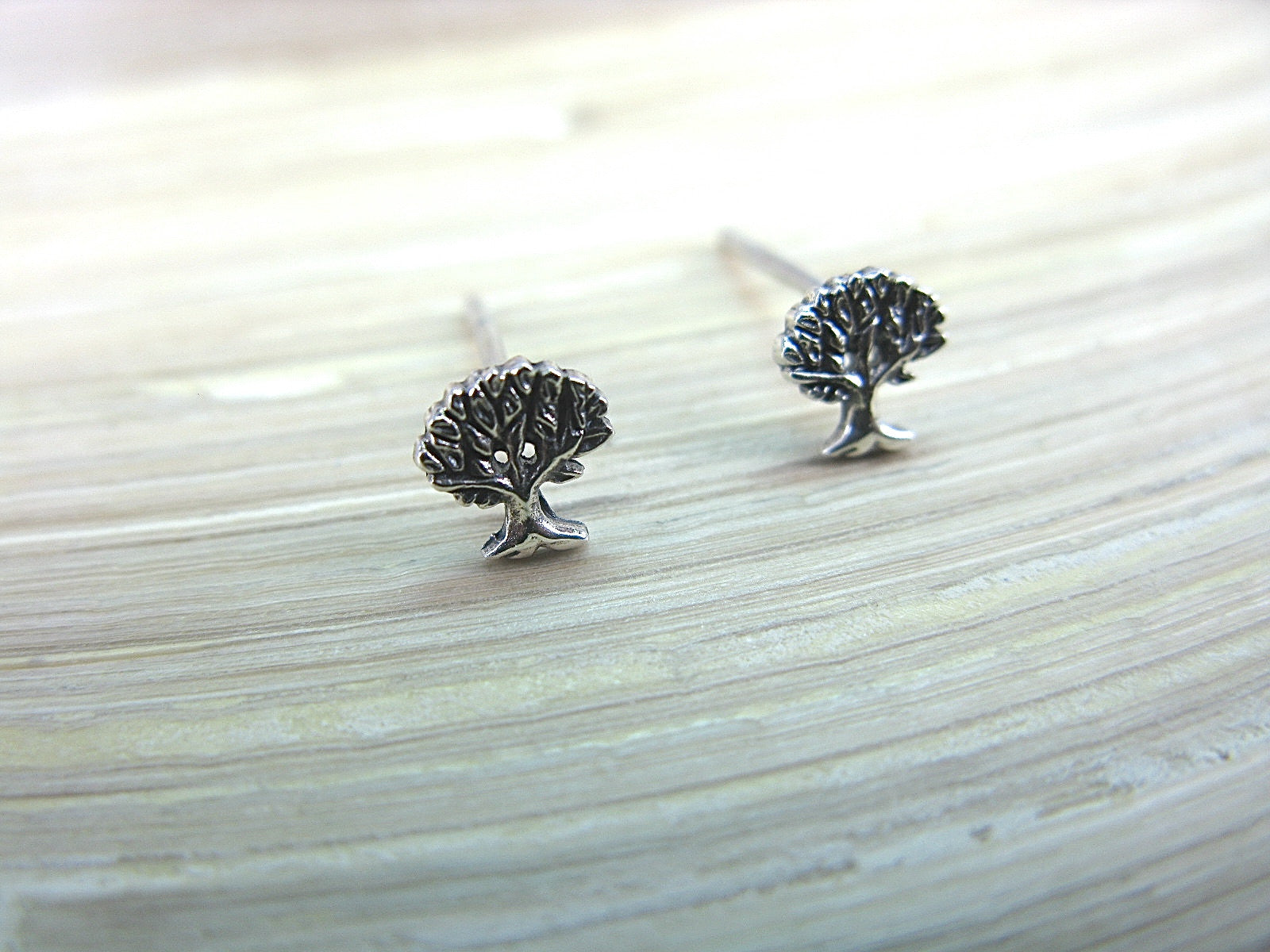 Tree Oxidized 925 Sterling Silver Stud Earrings Stud Faith Owl - Faith Owl