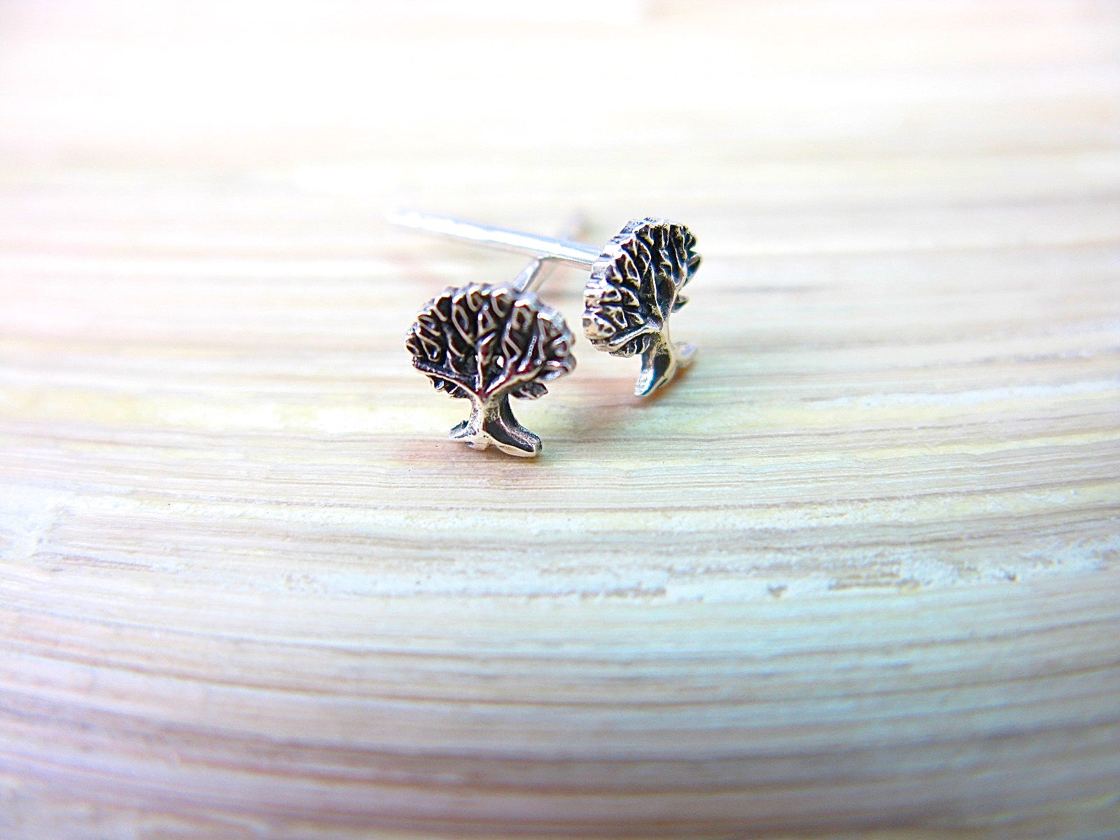 Tree Oxidized 925 Sterling Silver Stud Earrings