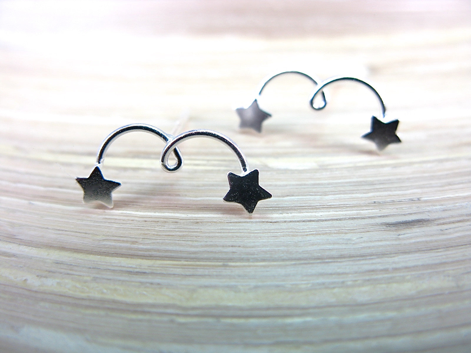 Twin Star Crescent 925 Sterling Stud Earrings Stud Faith Owl - Faith Owl