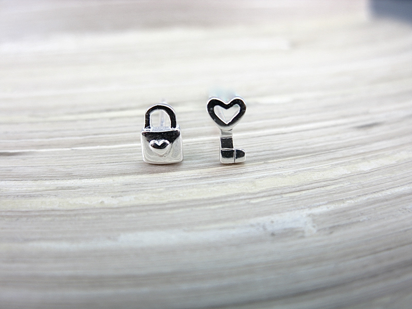 Heart Key Lock 925 Sterling Silver Stud Earrings Stud - Faith Owl
