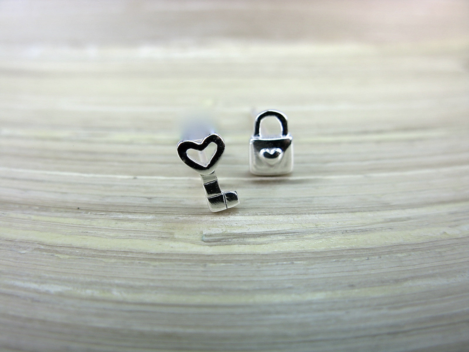Heart Key Lock 925 Sterling Silver Stud Earrings Stud Faith Owl - Faith Owl