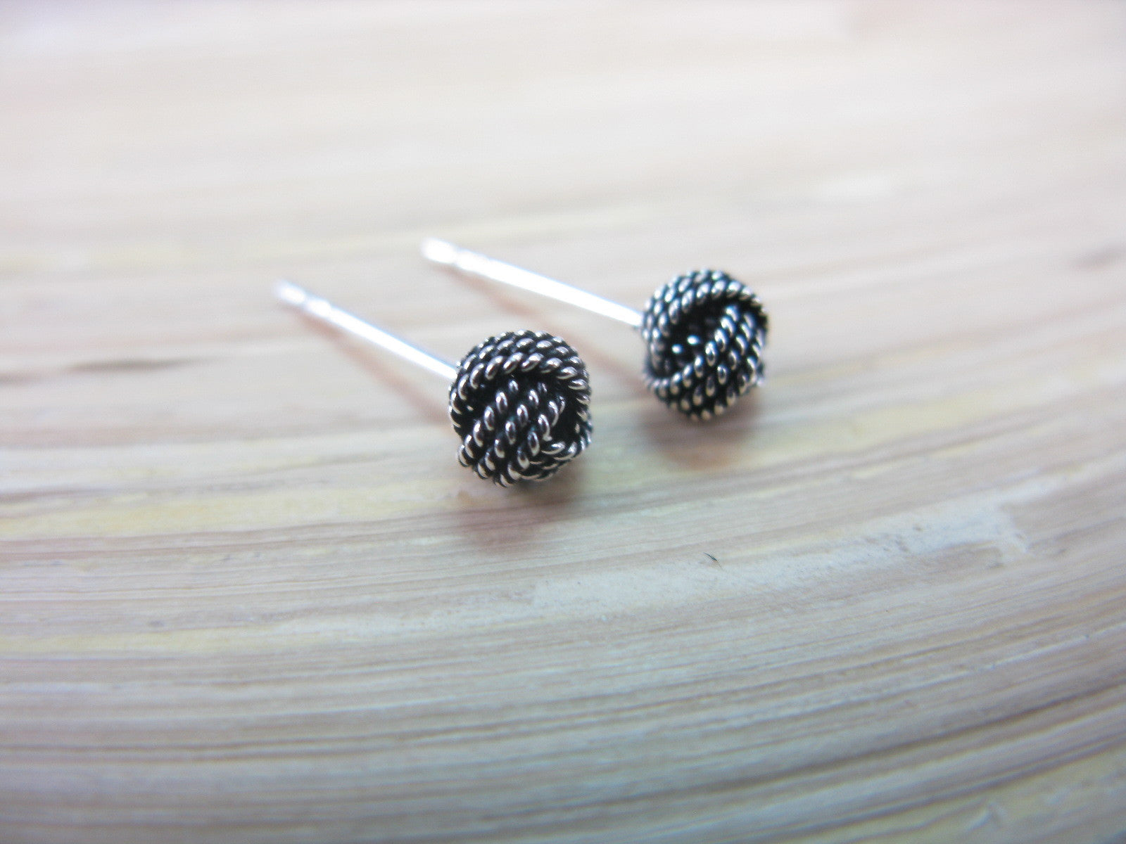 Knot 6mm Ball Oxidized 925 Strling Silver Earrings Stud - Faith Owl