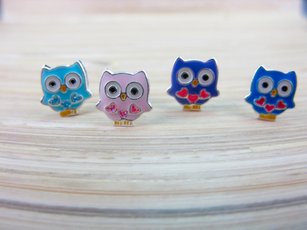 Owl 925 Sterling Silver Stud Earrings