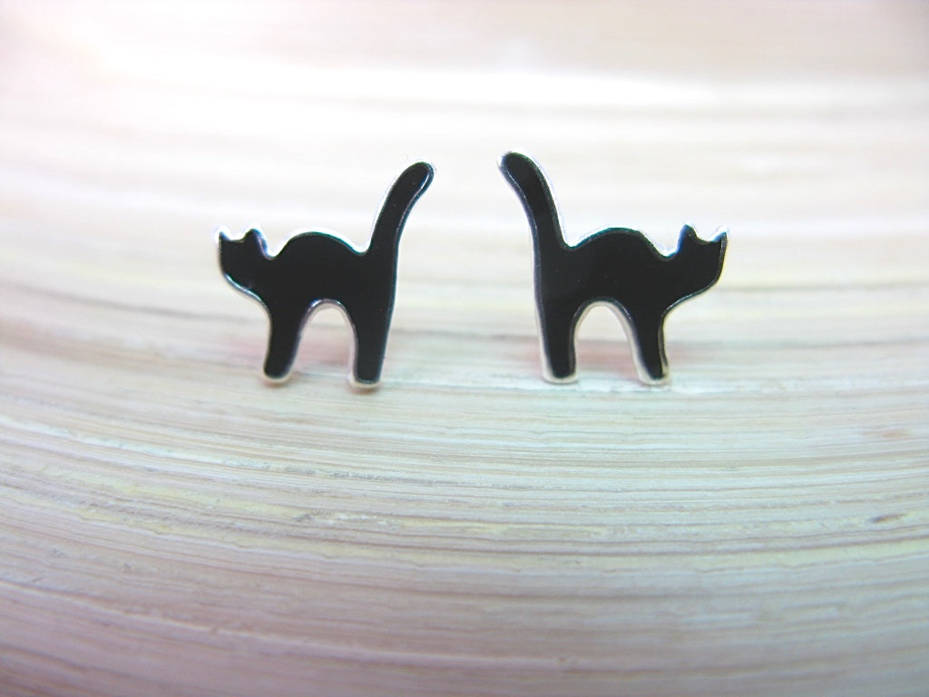 Cat 925 Sterling Silver Stud Earrings