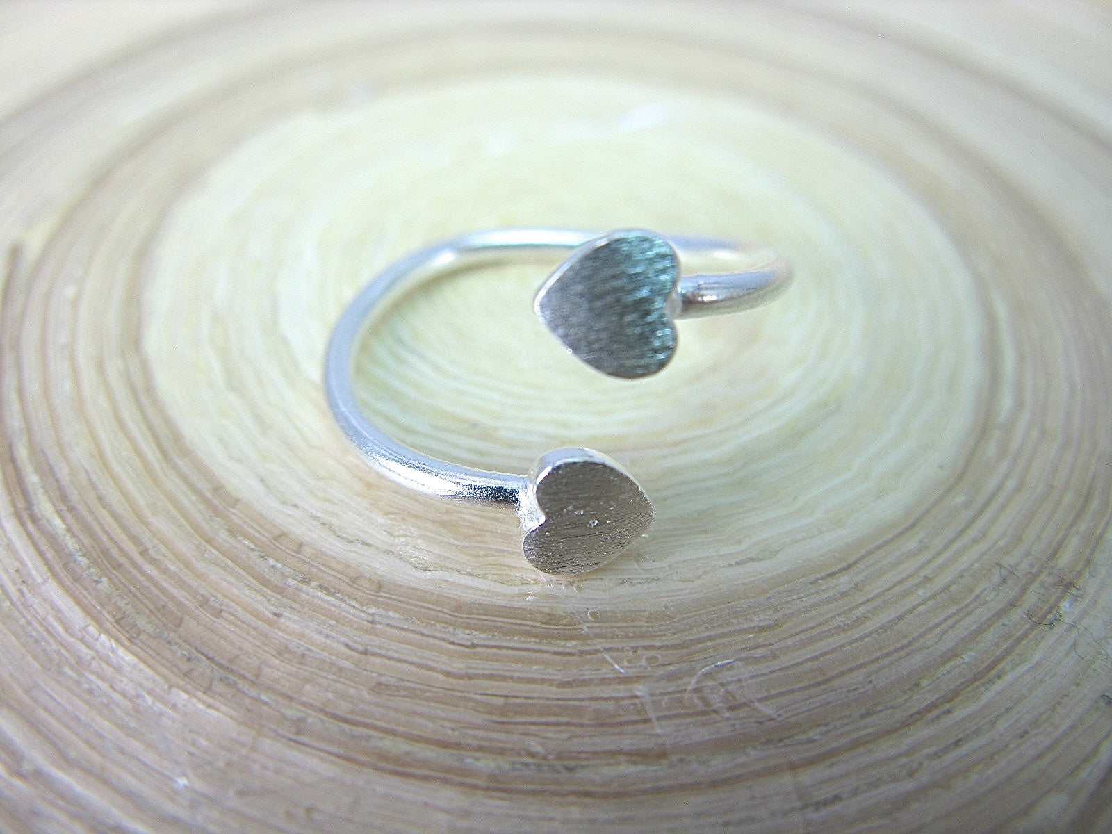 Two Heart Matte 925 Sterling Silver Ring