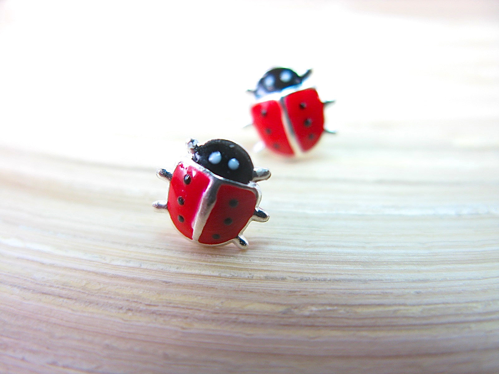 Ladybug Silver Stud - Red Insect 925 Sterling Silver Earrings Stud Faith Owl - Faith Owl