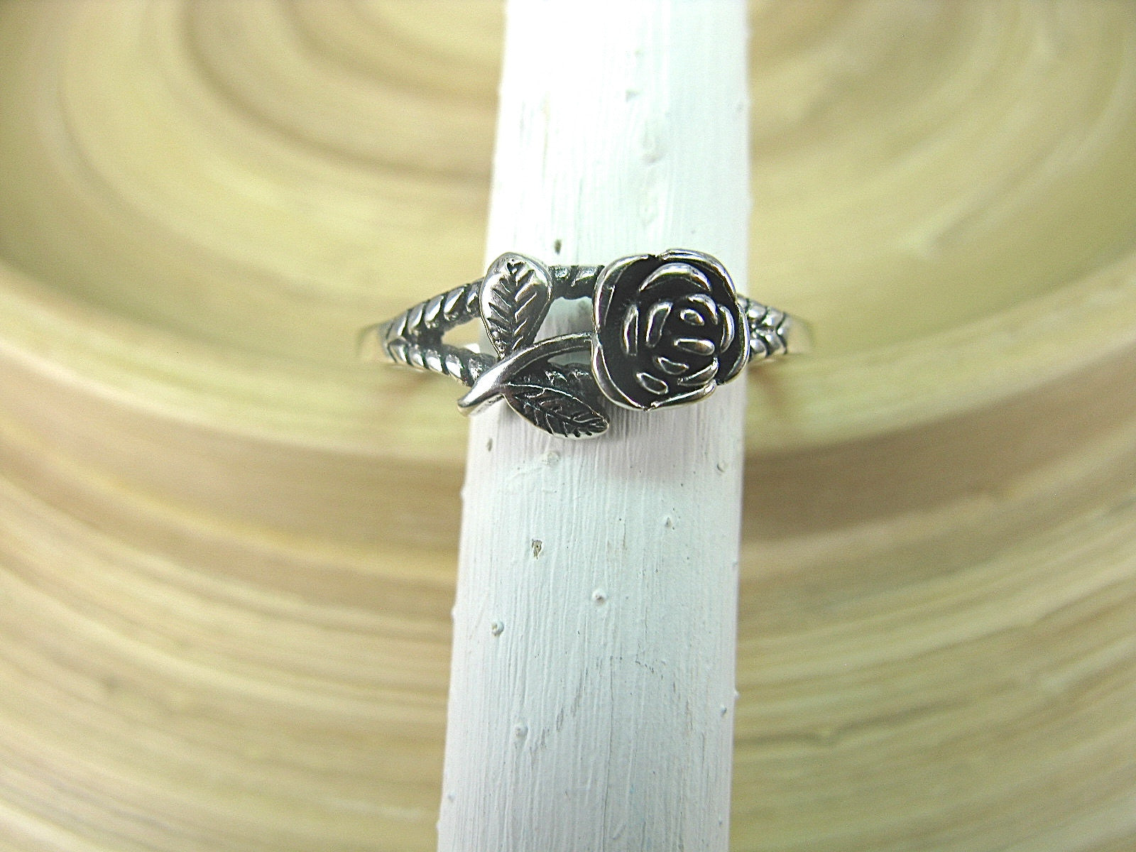 Rose Flower Oxidized 925 Sterling Silver Ring Ring Faith Owl - Faith Owl