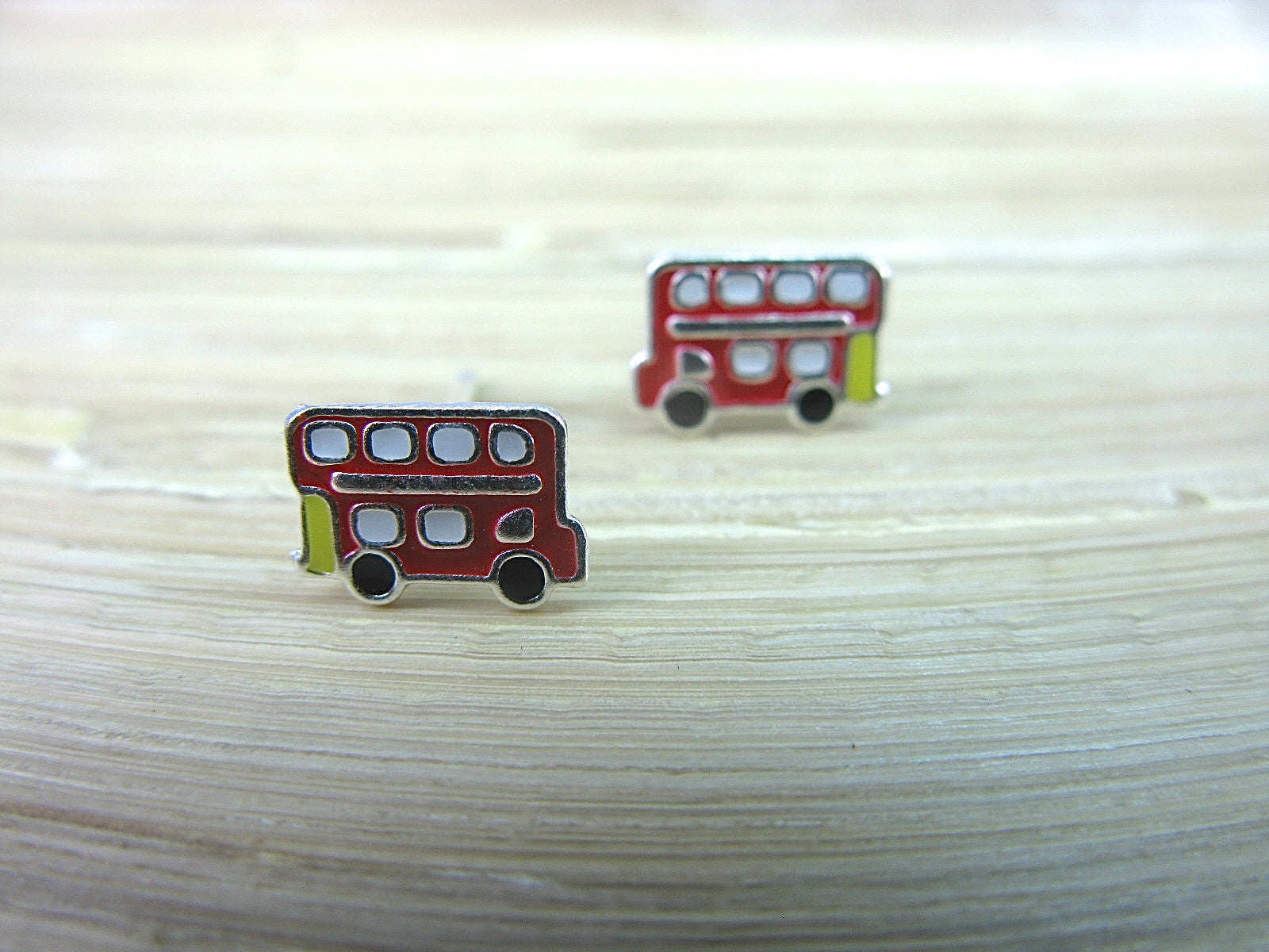 Bus Red Double Decker 925 Sterlings Silver Stud Earrings Stud - Faith Owl